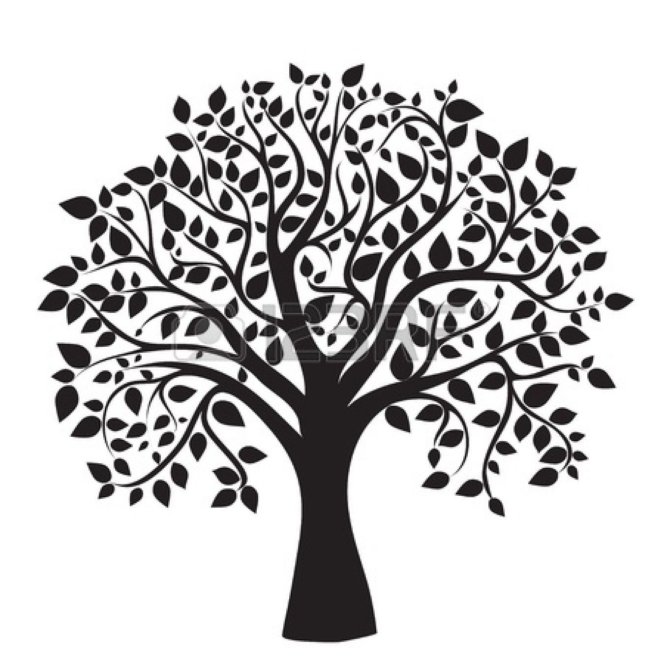 black tree silhouette isolated on white background | Family tree images,  Tree images, Family tree clipart