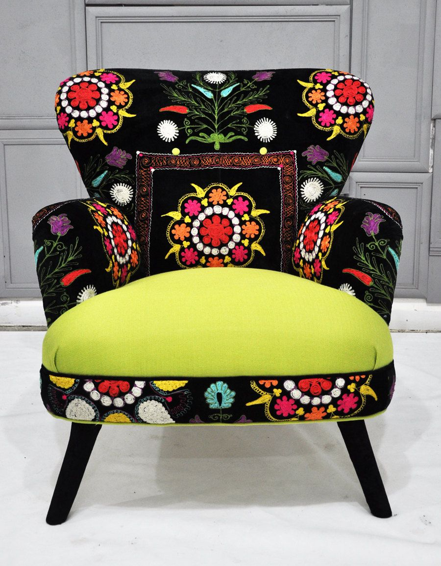 patchwork armchair with suzani and neon green velvet fabrics