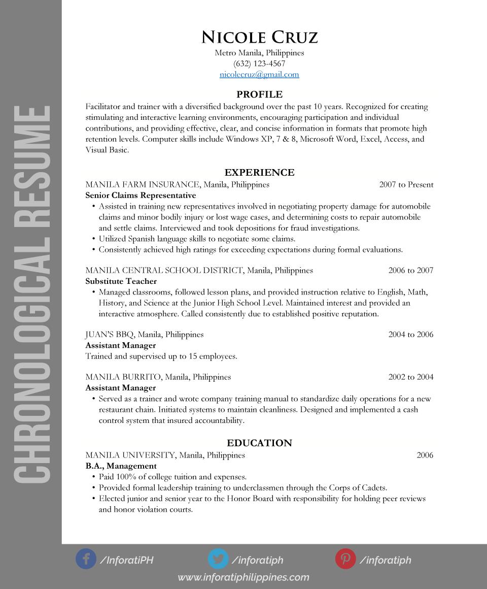 Chronological Resume Types By Format Resumes Cv Pinterest