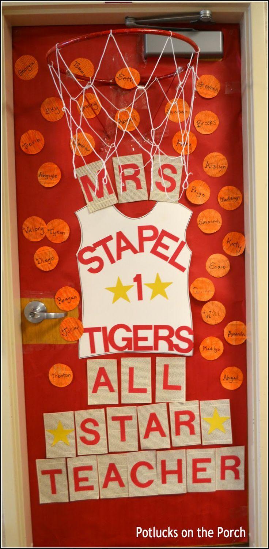 decorated door idea--All Star Teacher 3D Basketball Door @potlucksontheporch on the Porch & decorated door idea--All Star Teacher 3D Basketball Door ... Pezcame.Com