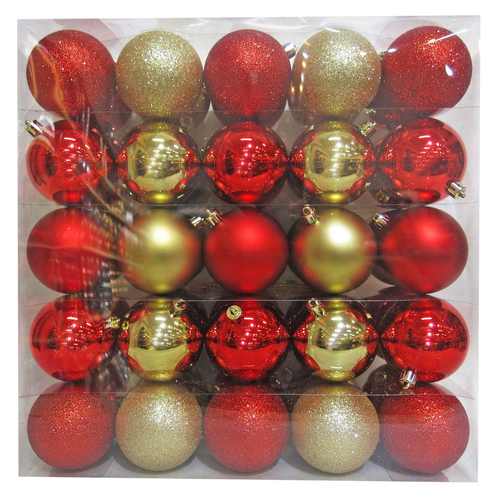50ct Christmas 70mm Red/Gold Ornament Set in