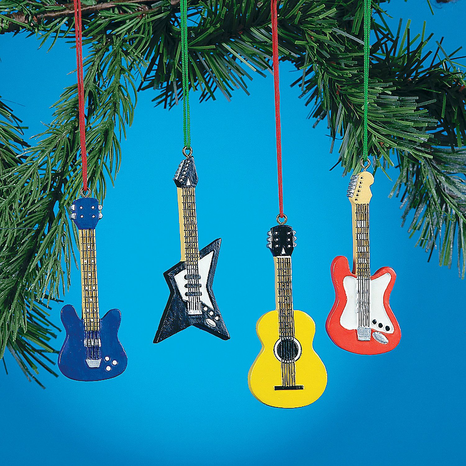 Rock N Roll Christmas Tree: Guitar Ornaments. Rock Around The Christmas Tree With
