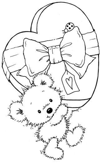 Ourson avec boite cadeau coeur tamponnages pinterest coloriage colorier et dessin - Dessin nounours avec coeur ...