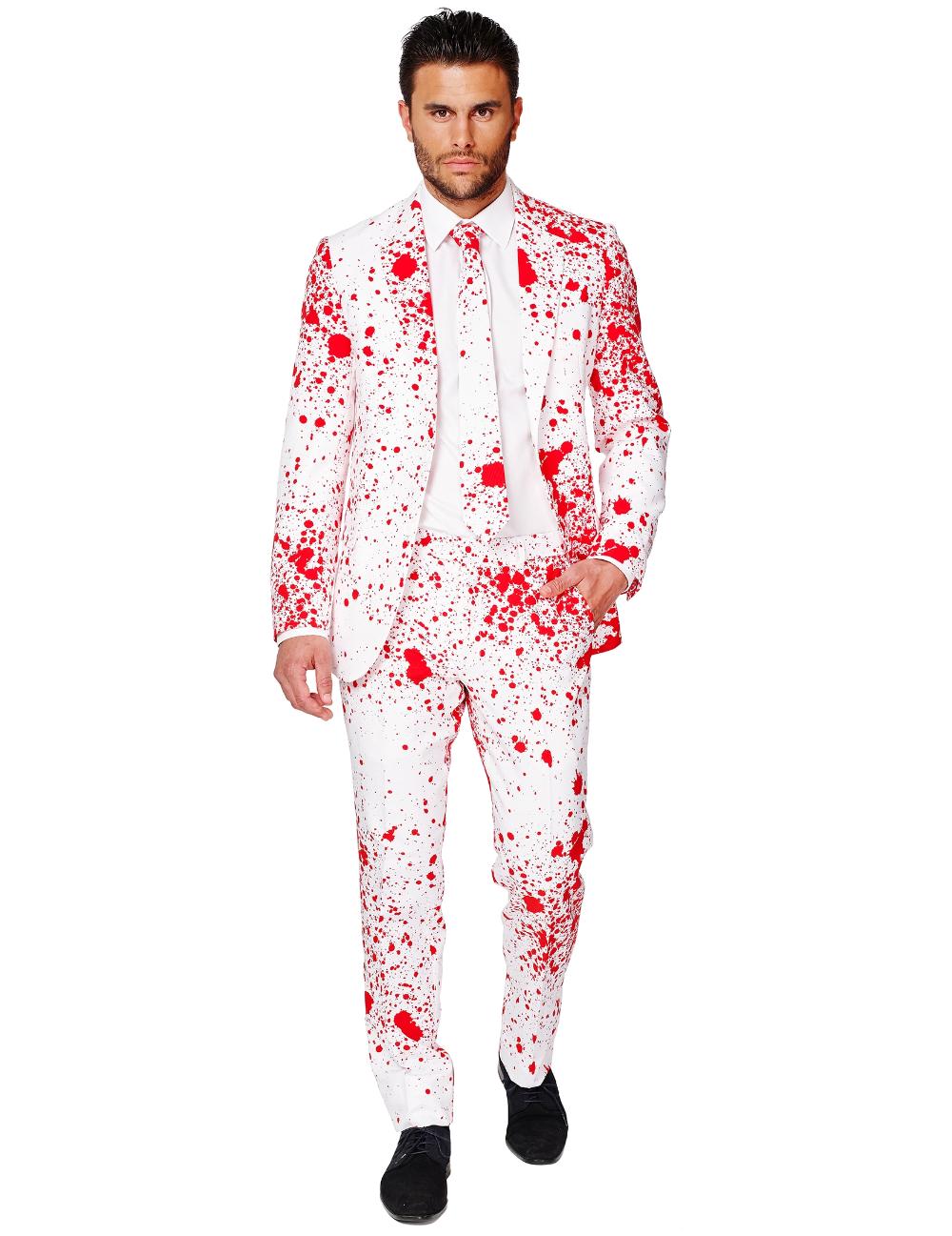 Blutiger Anzug Fur Herren Opposuits Anzug Halloween Weiss Rot Gunstige Halloween Kostume Bei Horrorklinik Anzug Manner Anzug Body Fit