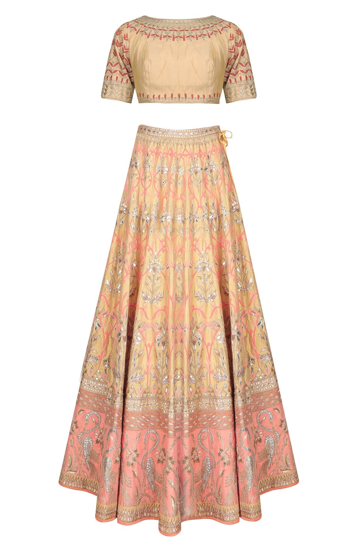 8cfe0a1c13 Gold and peach jaal embroidered 16 kali shaped lehenga set available only  at Pernia's Pop Up Shop.