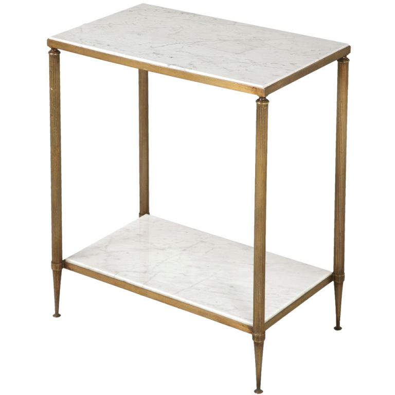 Stellar French Forties Two Tier Marble And Brass End Side Table Glamorous Living Room Side Table Side Tables For Sale