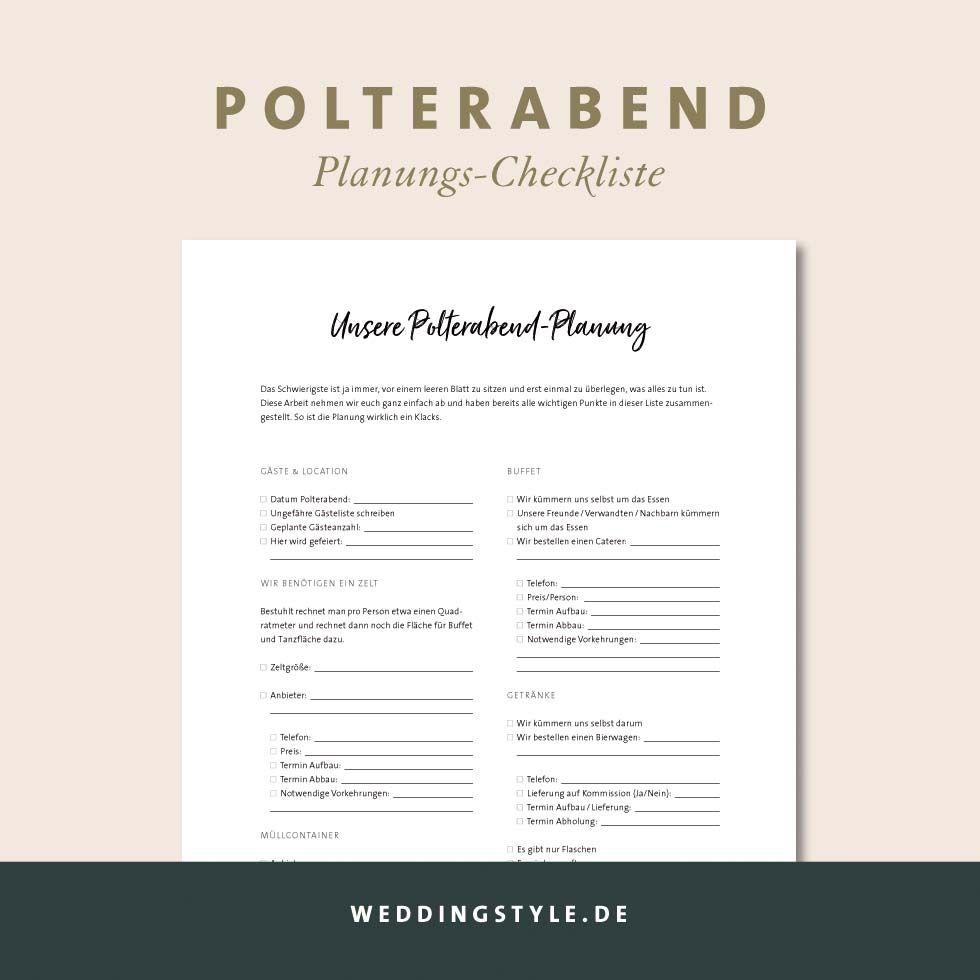 Checkliste Polterabend Planung Polterabend Trauzeugin Checkliste Checkliste Hochzeit