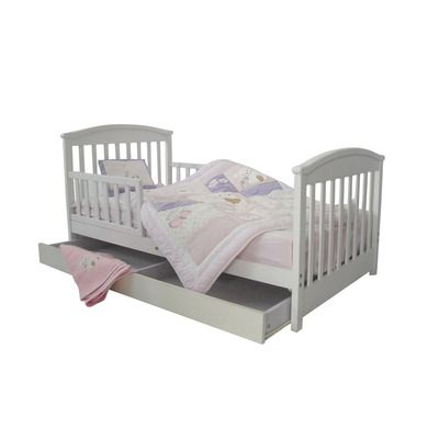 Mission Toddler Bed With Storage Drawer Finish White Bed