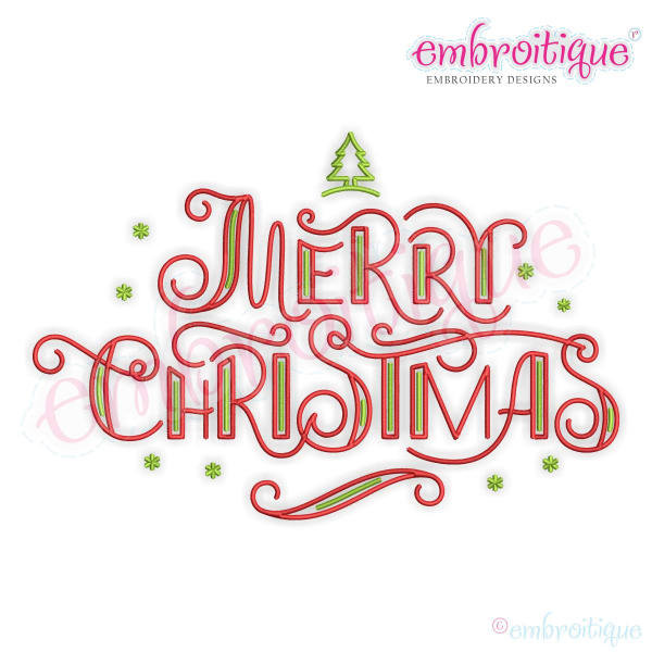 Curly Merry Christmas Word Art Design For Machine Embroidery