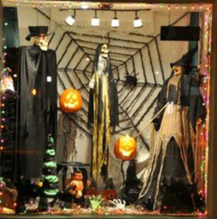 creative halloween window displays halloween scary ghosts window - Halloween Display Ideas