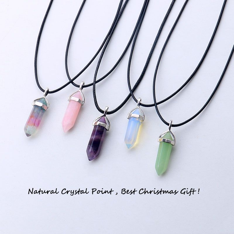 Natural stone lapis opal crystal hexagonal stone pendant leather necklaces
