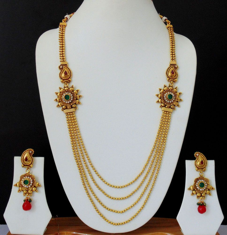 Long Necklace Ethnic Indian Jewelry Earrings Gold Plated Chain ...