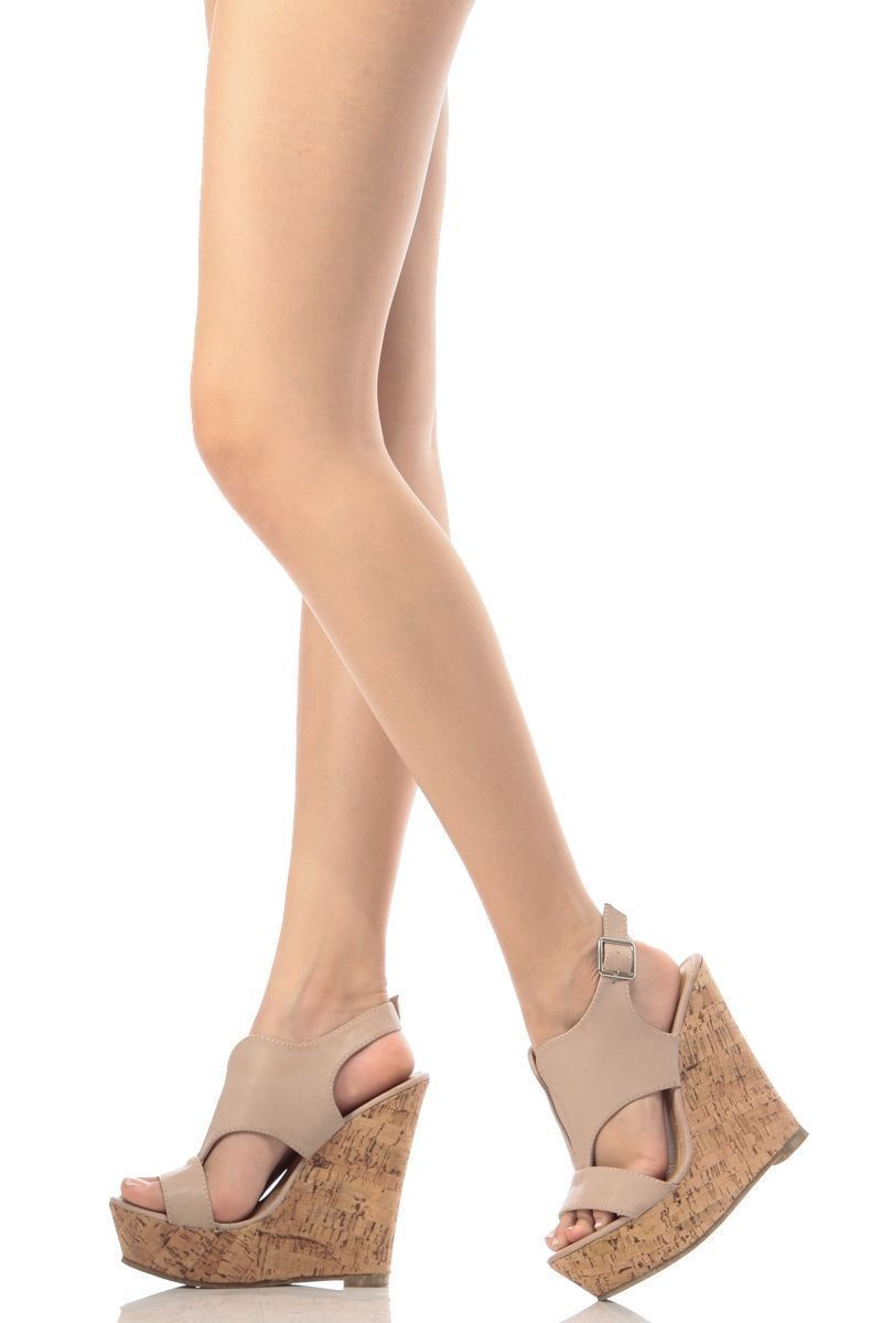 116ee746d Beige Faux Leather Cut Out Sling Back Cork Wedges @ Cicihot Wedges Shoes  Store:Wedge Shoes,Wedge Boots,Wedge Heels,Wedge Sandals,Dress Shoes,Summer  Shoes ...