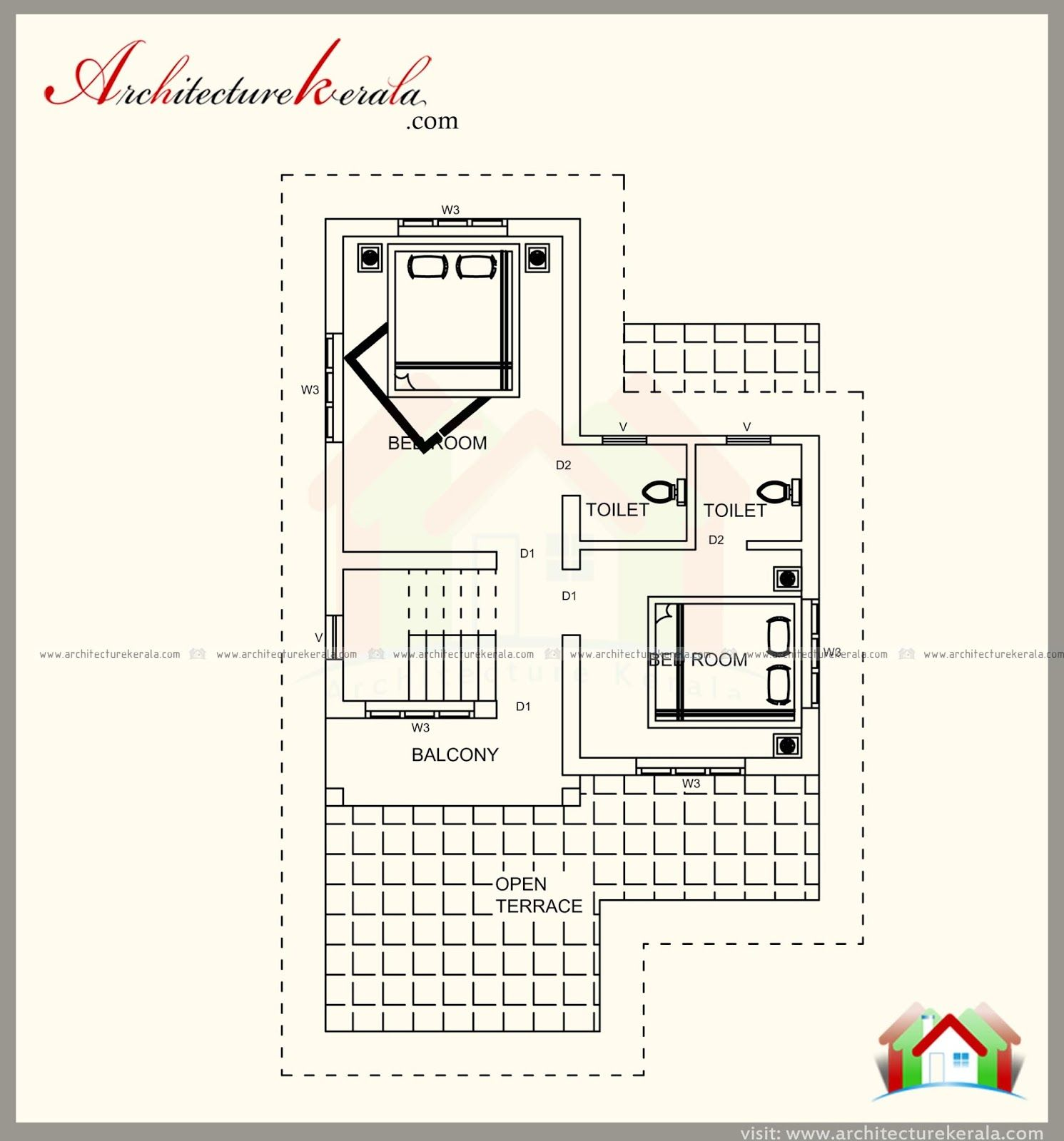 1100 Square Feet House Plan With 3 Bedrooms Are Attached Bathroom Separate Drawing And Dining Kitchen Sit Out How To Plan House Plans Unique House Plans