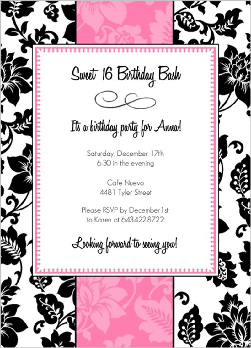 Black White Pink Sweet Sixteen Birthday Party Invitation Design ...
