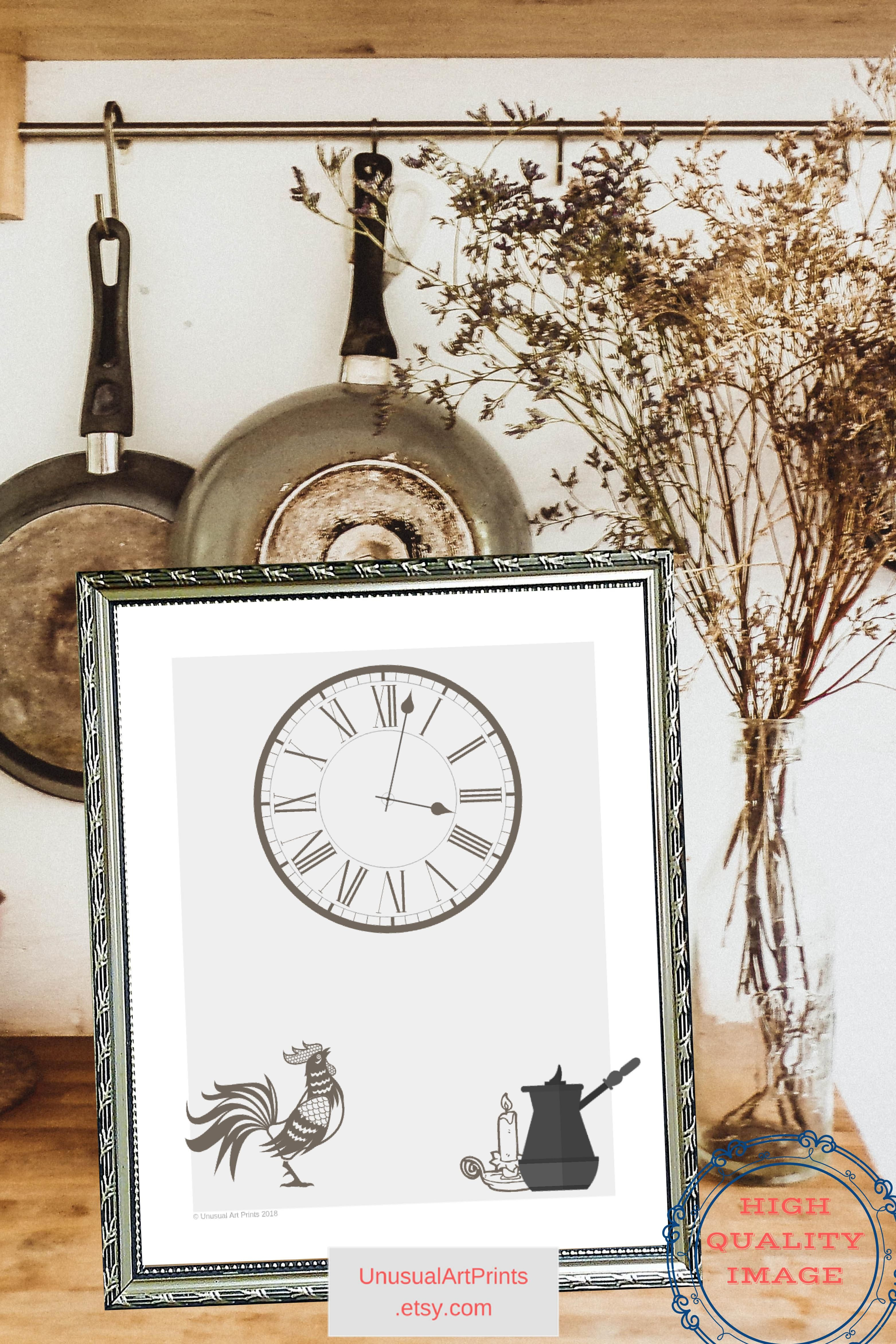 Printable rooster decor autumn decorations kitchen sign farmhouse