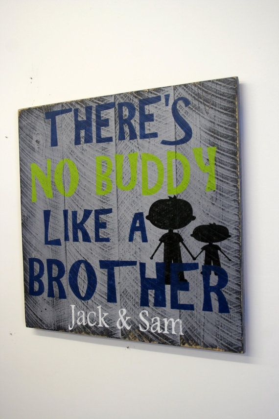 Boys Bedroom Custom Sign Personalized Pallet Theres No Buddy Like A Brother Gray Bedroom Decor Shabby