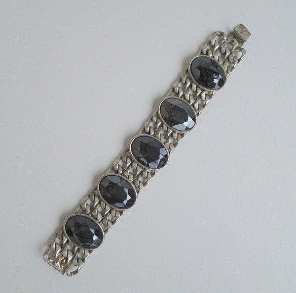 FELD MARCY Chunky Wide Black Glass Chain Link Bracelet Jewelry