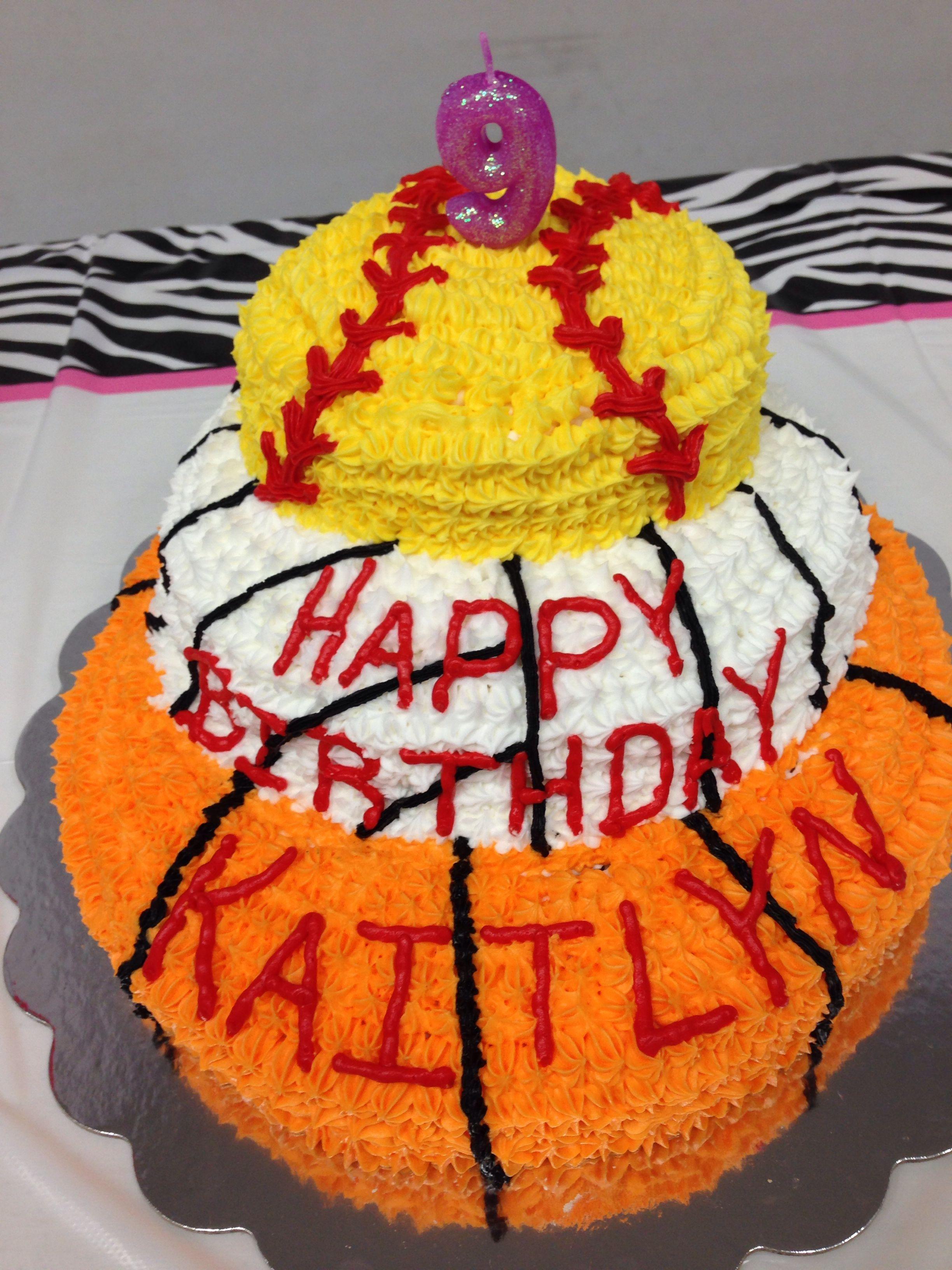 Basketballvolleyball And Softball Bday Cake Food Pinterest