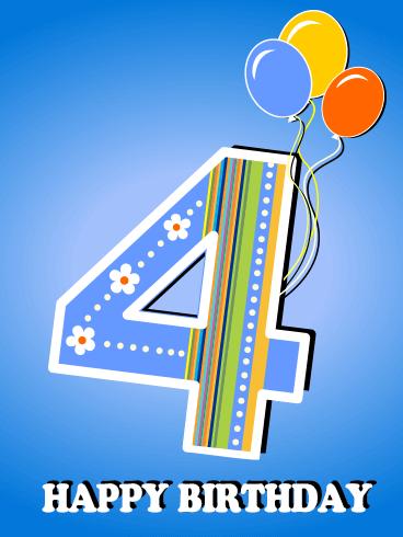 Happy 4th Birthday Card Birthday Greeting Cards By Davia Happy 4th Birthday Happy 50th Birthday Wishes Happy Birthday Dear