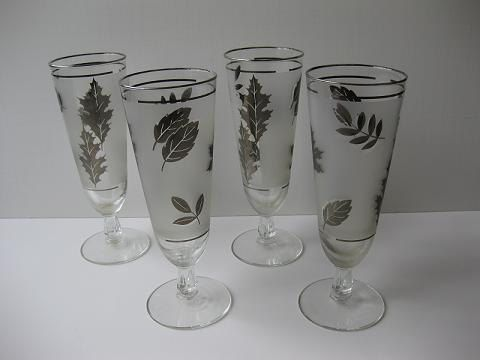 Sale Vintage Libbey Silver Leaf Pilsner Bar Glasses Set Of Four.