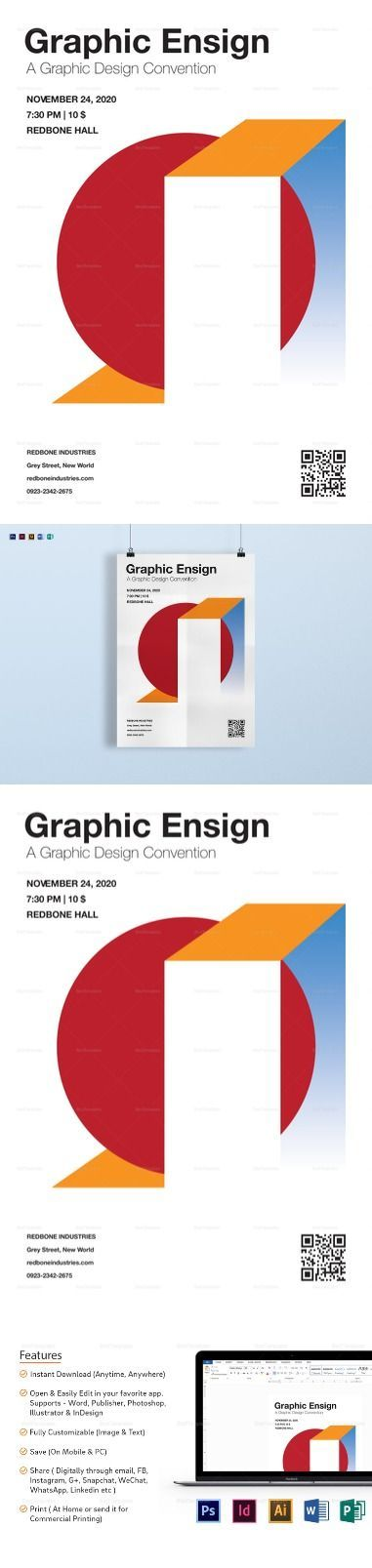 a4 graphic ensign poster template 21 formats included illustrator
