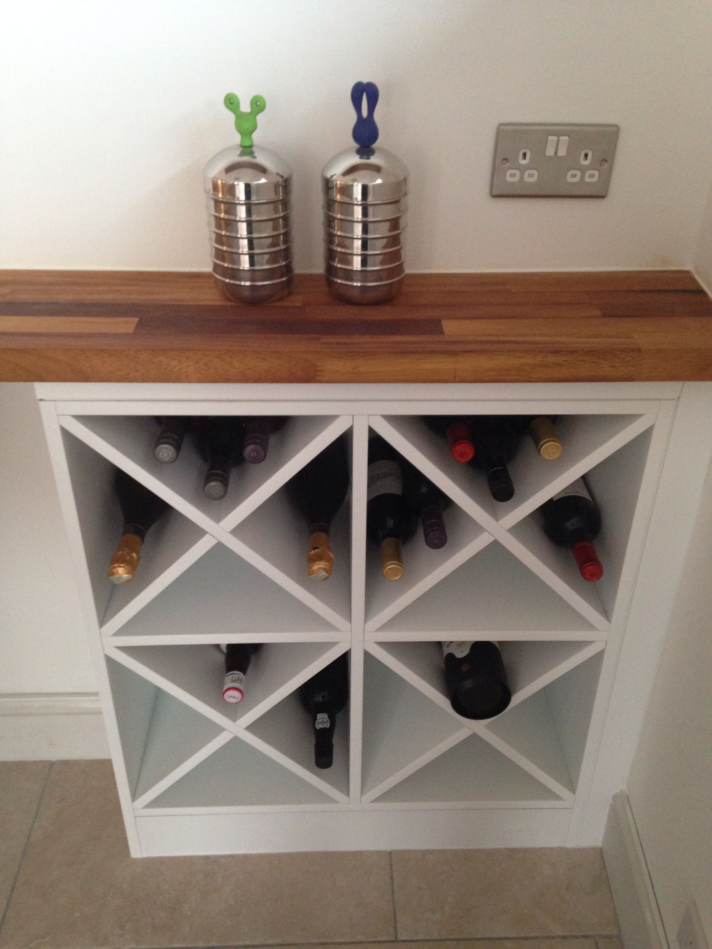 DIY wine rack -- make two of these on either side and one ...