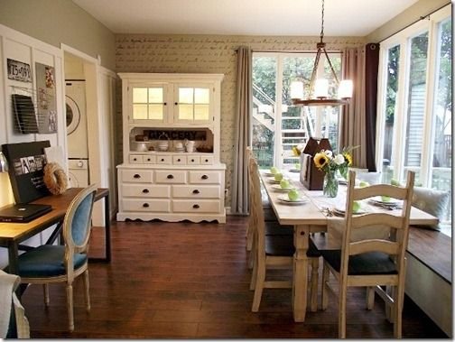 Love the long table with a window bench....I have always wanted to have something like this in my kitchen. Wonder if JC will build it...?