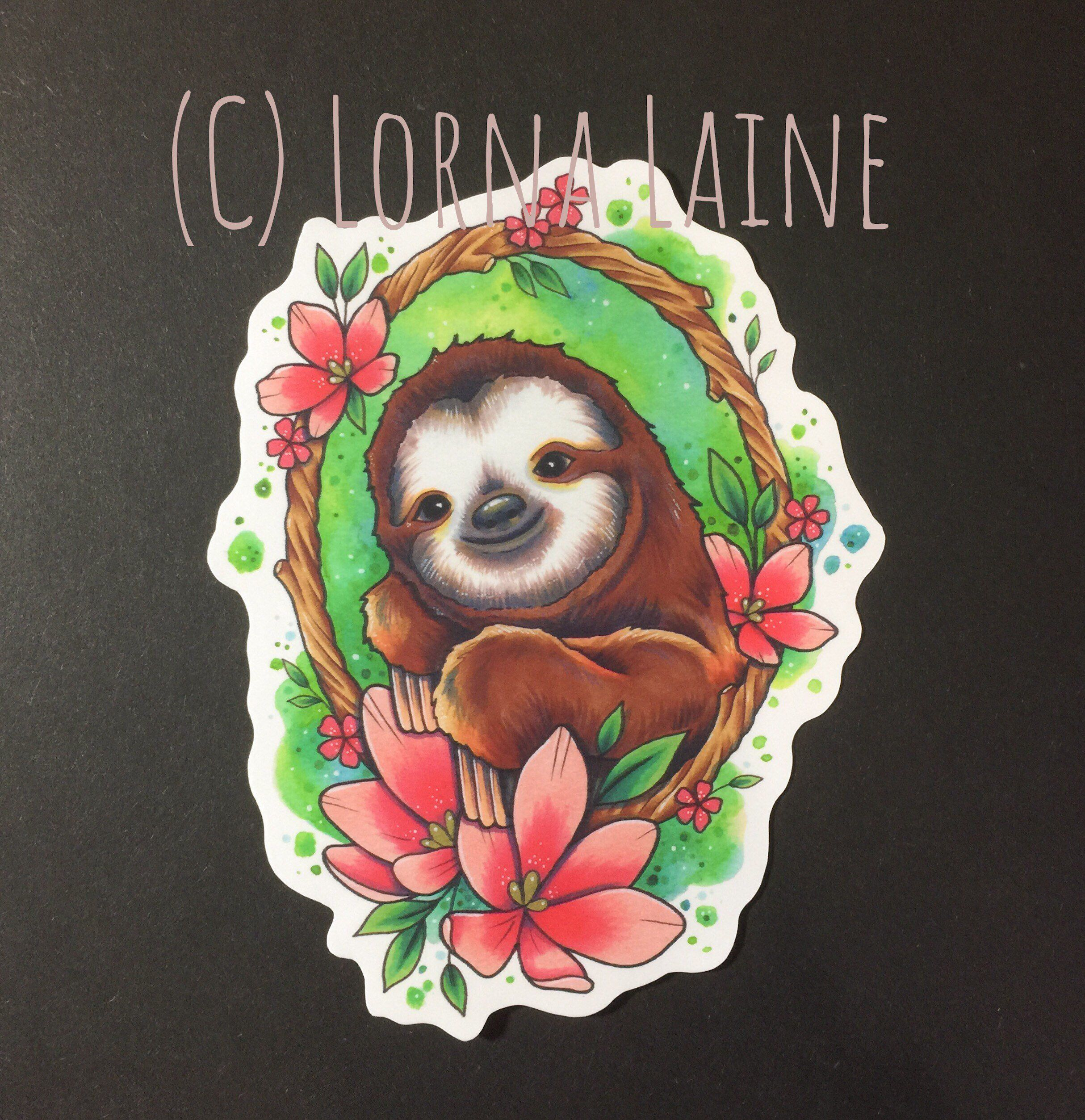 Sloth vinyl sticker, tattoo print, tattoo sticker