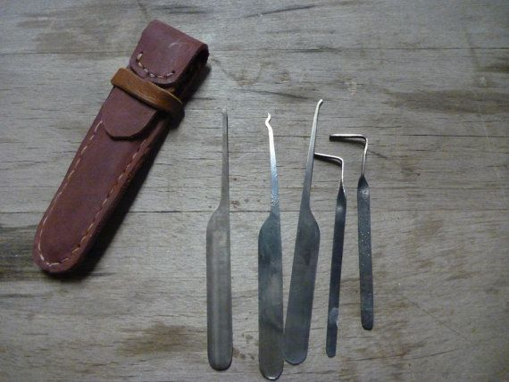Handmade lock picks with leather case