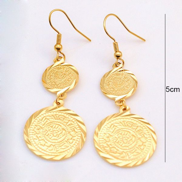 18k Yellow Gold Plated Muslim Ic Earrings Long Ancient Coin Arab Jewelry