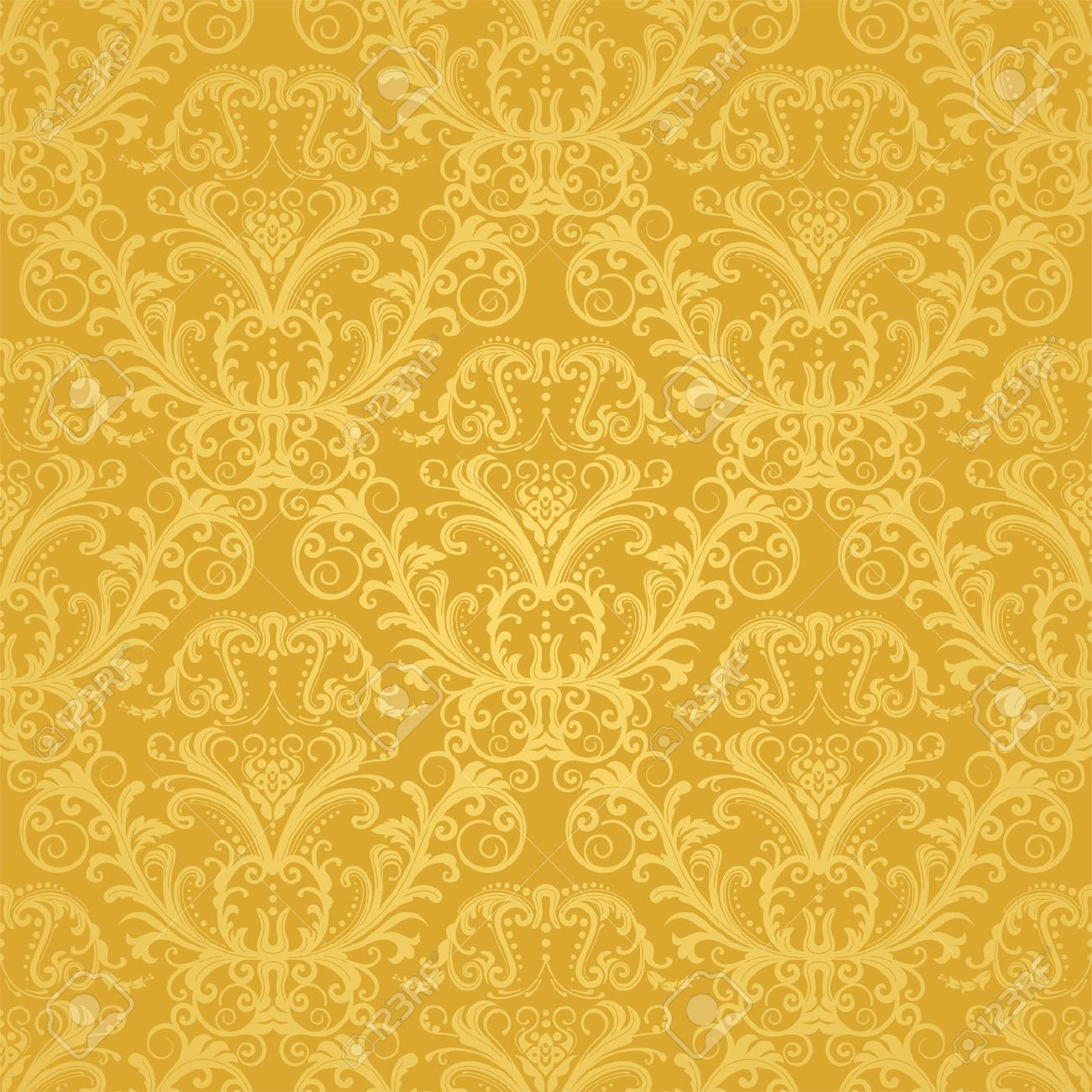 Luxury Seamless Golden Floral Wallpaper Royalty Free Cliparts
