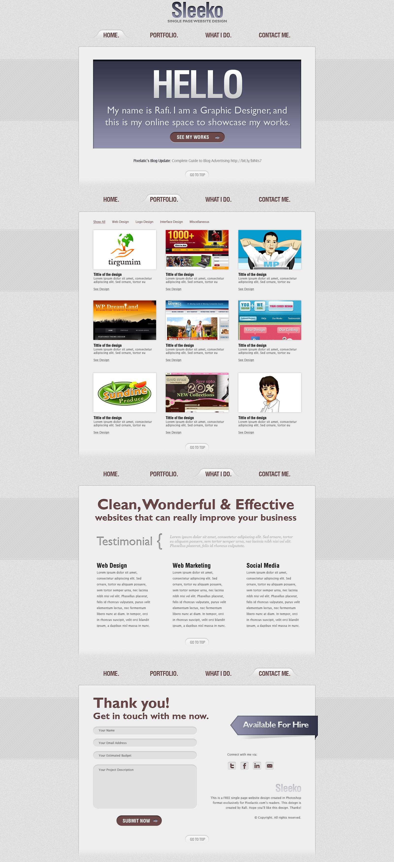 Sleeko Single Page Website Design | Freebies | Pinterest | Website ...