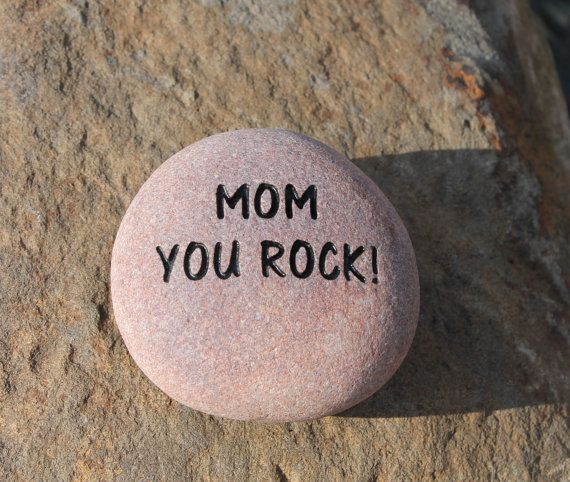 Engraved stone mom you rock personalized engraved stone name by items similar to engraved stone personalized engraved stone name stone etched stone custom engraved stone wedding stone engraved garden stones on etsy workwithnaturefo