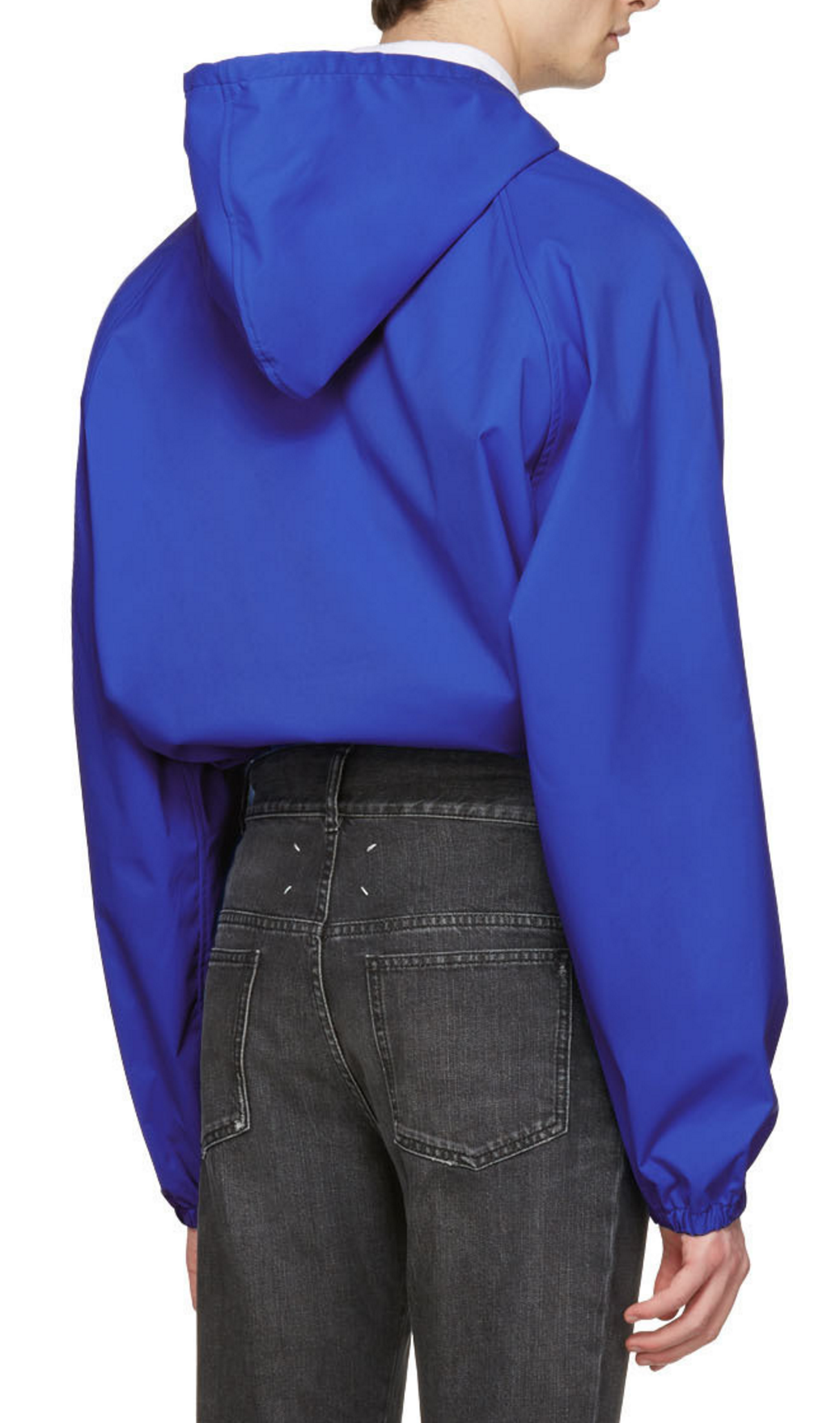 Martine Rose Blue Windcheater Hooded Jacket from SSENSE (men, style, fashion, clothing, shopping, recommendations, stylish, menswear, male, streetstyle, inspo, outfit, fall, winter, spring, summer, personal)
