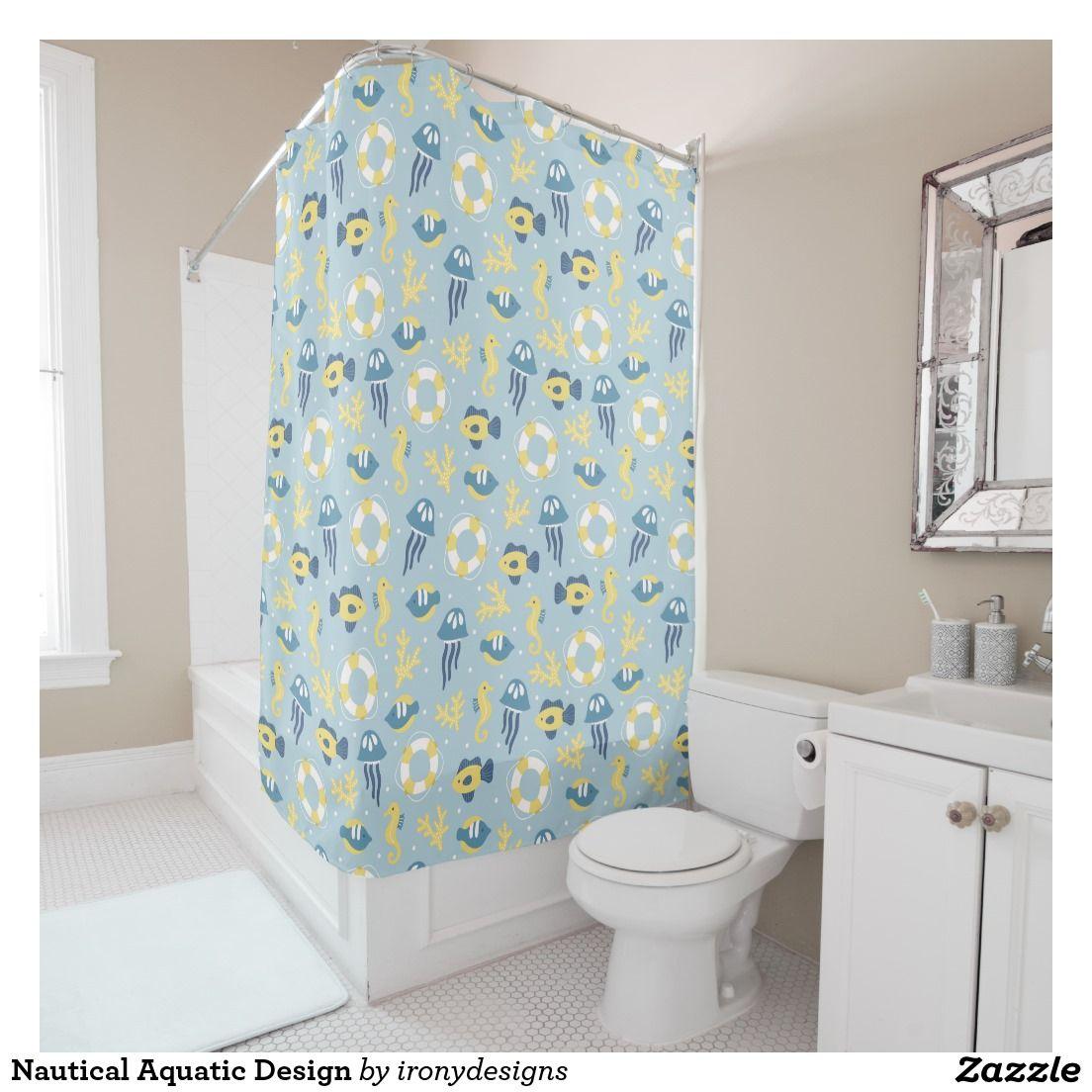Nautical Aquatic Design Shower Curtains