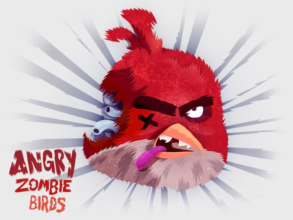 Angry Zombie Birds Sketch Painting Illustration Art