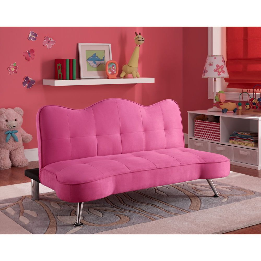 Convertible Sofa Bed Couch Kids Futon Lounger Girls Pink Bedroom Furniture Twin Bed Couch