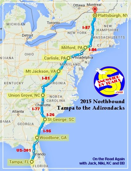 Road Map Of Florida And Georgia.Summary A Popular Snowbird Rv Route Florida To Upstate Ny Canada