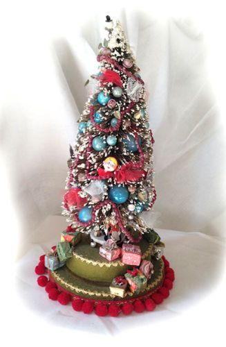 VERY Large RARE Vintage Bottle Brush Christmas Tree Loaded w Gifts