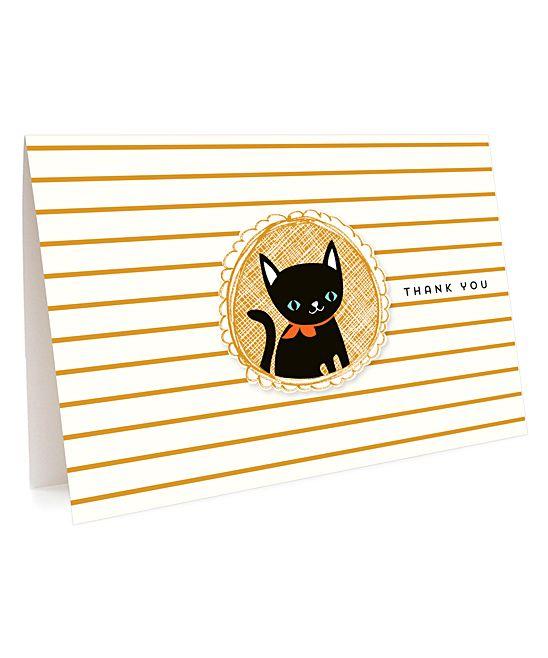 Black Cat Folded Thank You Card - Set Of Six