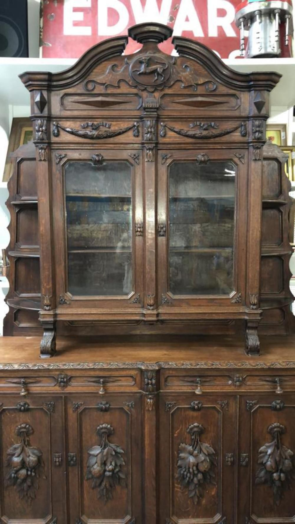 Superieur Antique German Oak Step Back Cupboard ~ Invaluable.com