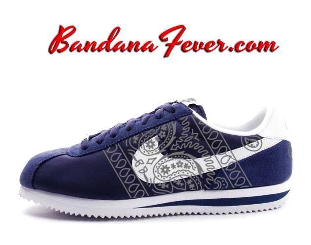 Custom Metallic Silver Bandana Nike Cortez Nylon Midnight Navy/White,  #paisley, by