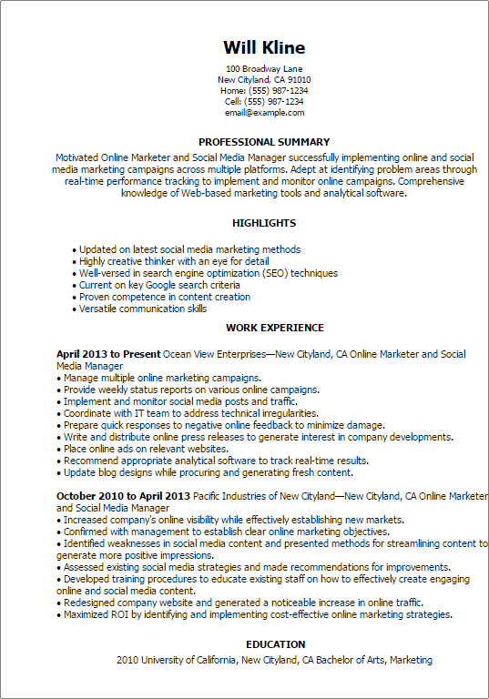 Resume Templates Online Marketer And Social Media Marketing Resume Resume Examples Social Media Marketing Campaign
