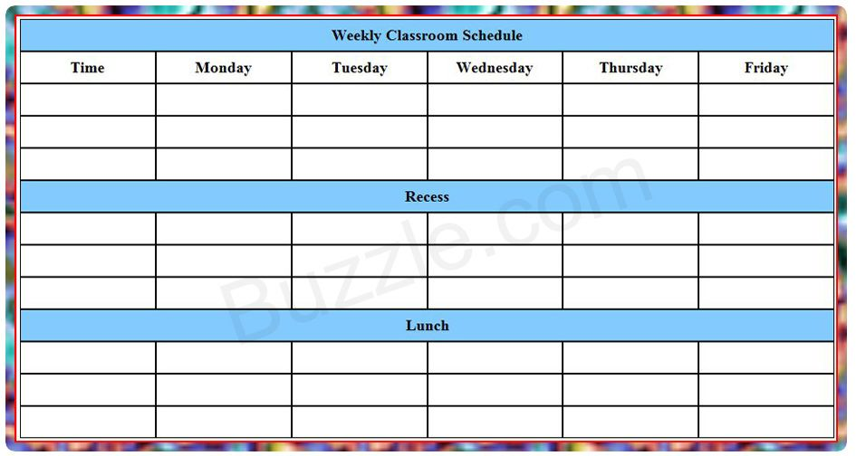 College schedule template large include figure 1 hand drawn