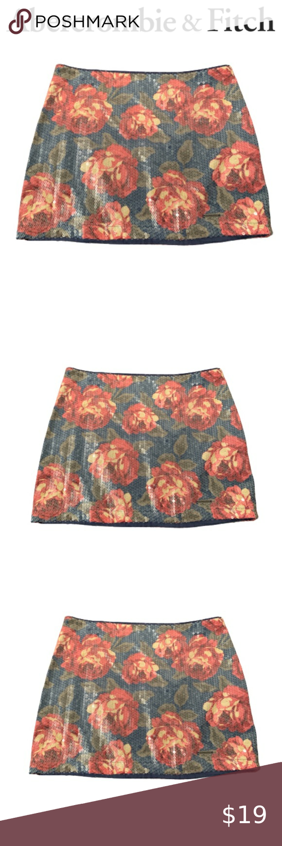 Women's Sequin Floral Mini Skirt Check out this li