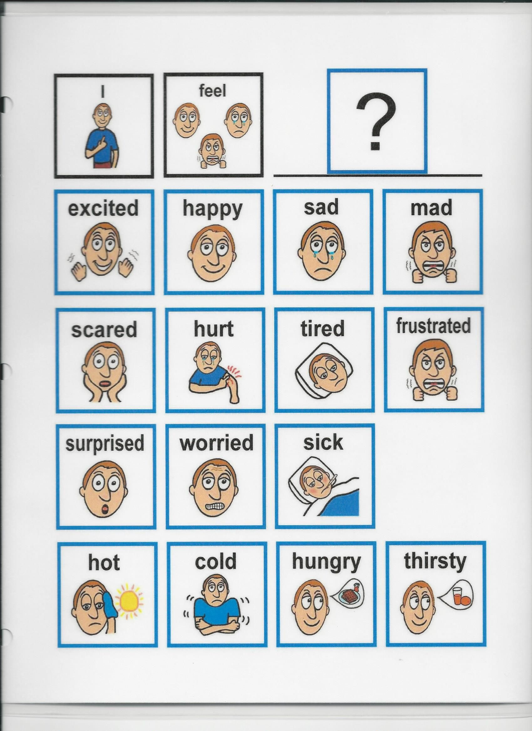 This Chart Gives A Way For A Person To Visually Show How They Feel Emotions Cards Autism Communication Cards Autism Visuals