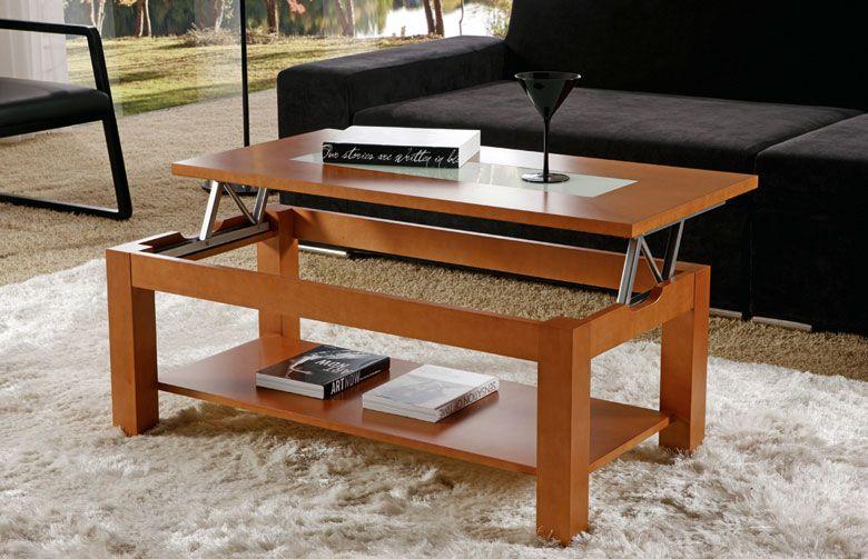 Mesa centro con bandeja elevable cristal rebaja sagunto for Mesas de centro modernas y baratas