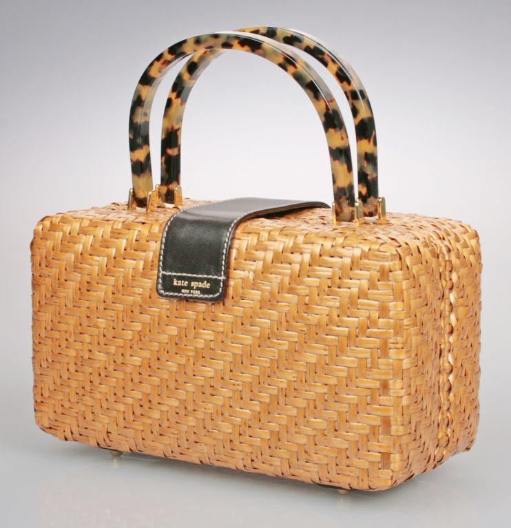 Vintage Kate Spade Handbags Italian Woven Wicker Purse At 1stdibs
