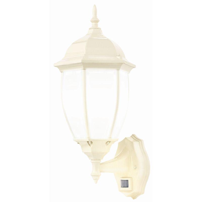 Brilliant cambridge beige exterior wall light with sensor